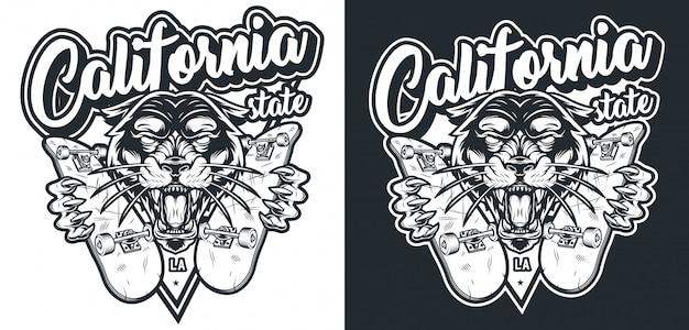 Монохромный винтажный скейтбординг логотип