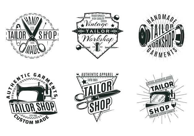 Monochrome vintage tailor shop logos set