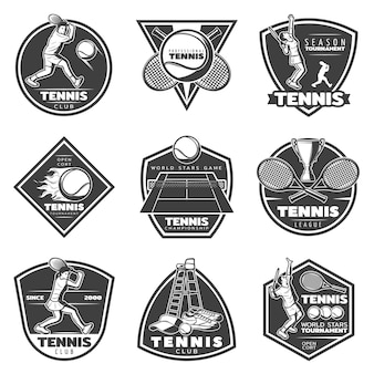 Monochrome vintage tennis labels set