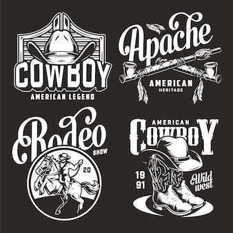 Monochrome vintage wild west badges