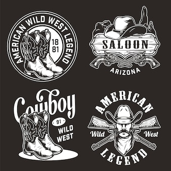 Monochrome vintage wild west labels