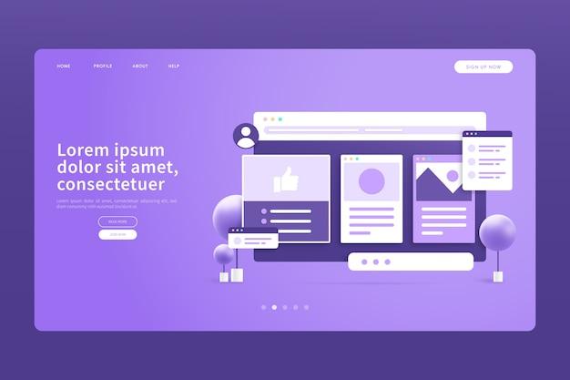 Монохромная фиолетовая 3d концепция целевой страницы