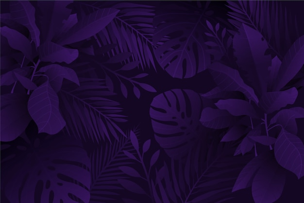 Monochrome violet realistic dark tropical leaves background