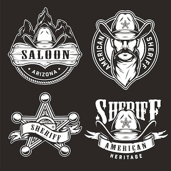 Monochrome wild west badges