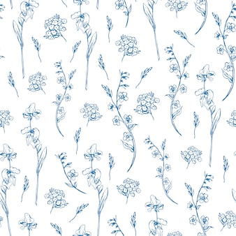 Monochrome wildflowers seamless pattern