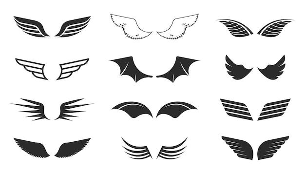 モノクロの翼セット。飛行のシンボル、黒い形、パイロットの記章、航空パッチ。白い背景に分離されたベクトルイラストコレクション