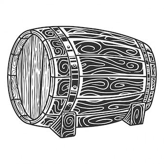 モノクロの木製樽、レトロなスタイル。白で隔離