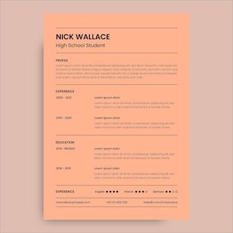 Monocolor simple nick student high school resume