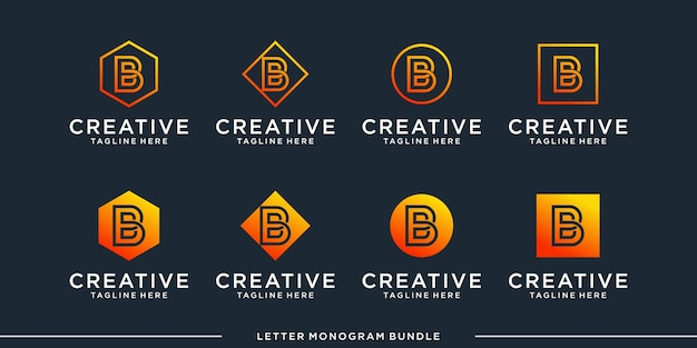 Monogram abstract initial b logo design   template