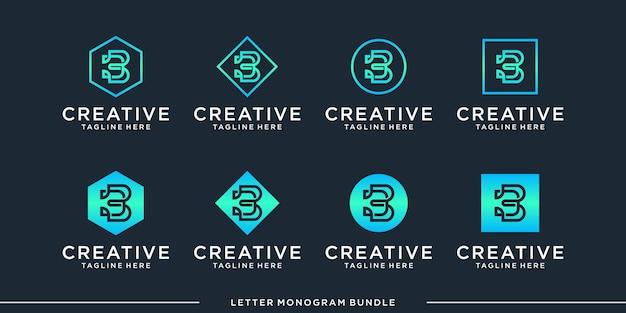 モノグラム抽象的な初期bロゴデザインテンプレート