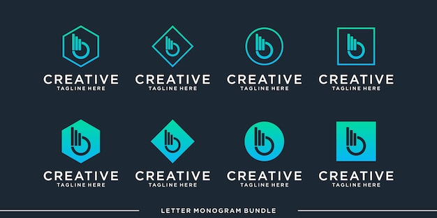Monogram abstract initial b logo design   template
