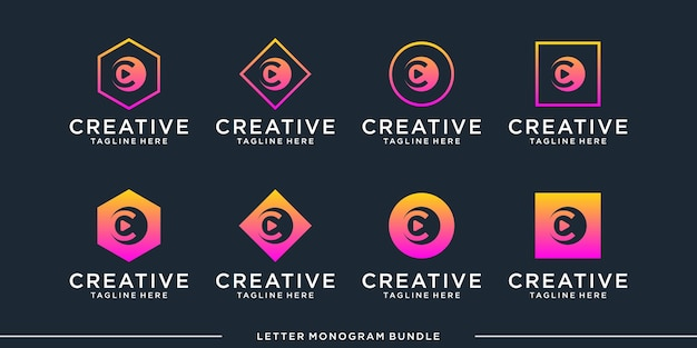 Monogram abstract initial c, logo design   template
