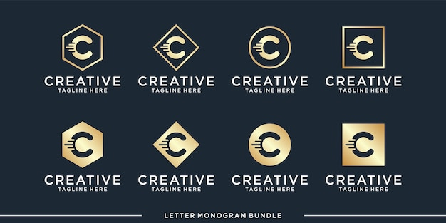 Monogram abstract initial c, logo design   template