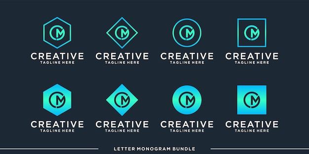 Monogram abstract initial  letter m, logo design   template