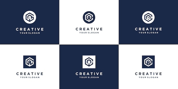 Monogram abstract initial a  logo design template set