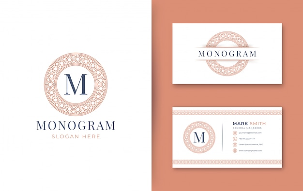 Monogram badge with business card