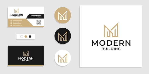 Monogram building logo initial letter m and business card design template