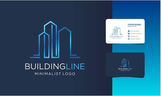 Monogram building logo with business card design.