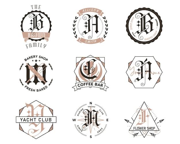 모노그램 번들 디자인. 클래식 모노그램 - 카페, 베이커리, 커피숍 및 이름. 세련된 배지 웹 및 인쇄. 스톡 벡터 레이블입니다.