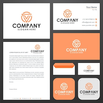 Monogram collection vector logo letter j and business card