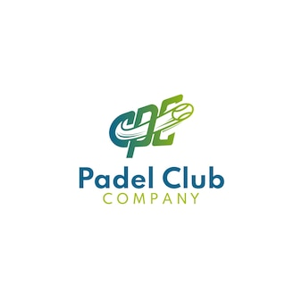 Monogram cpc padel club logo with ball effect