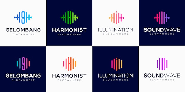Monogram creative logo design template with pulse element.