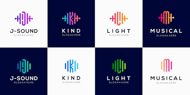 Монограмма креатив с импульсным элементом логотипа дизайн шаблона.