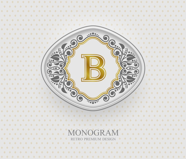 モノグラムデザイン要素、書道の優雅なテンプレート、文字のエンブレムb、