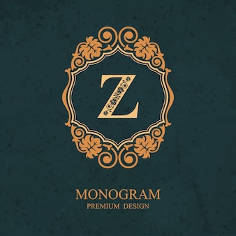 Элементы дизайна монограммы, каллиграфический изящный шаблон, буква эмблема z,