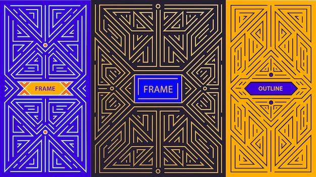 Monogram design elements in trendy vintage and mono line style