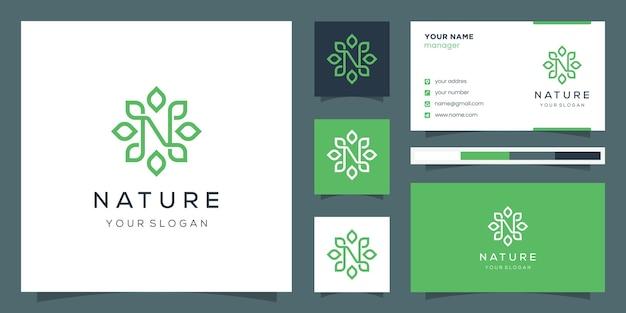 モノグラムデザインの文字nと線画スタイルを使用した葉。ロゴと名刺。