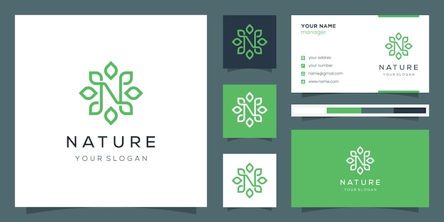 Monogram design letter n and leaf using line art style. logo and business card.