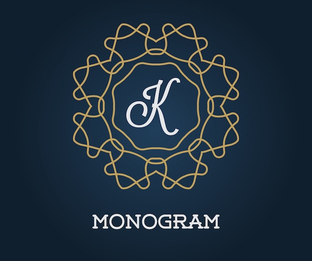 Monogram design template with letter  illustration premium elegant quality gold on navy blue