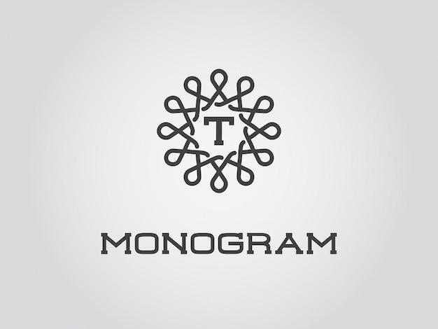 文字tのモノグラムデザインテンプレート