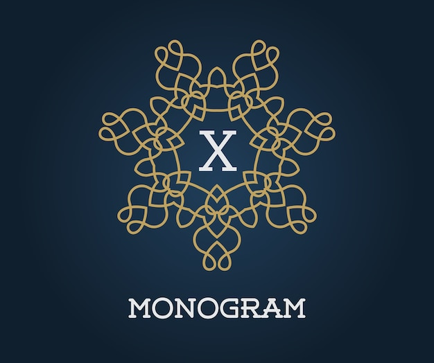Monogram design template with letter x.