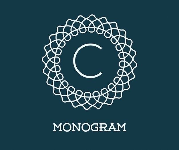 Monogram design template with letter.