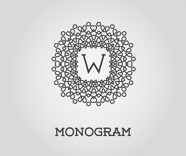 Monogram design template with w letter