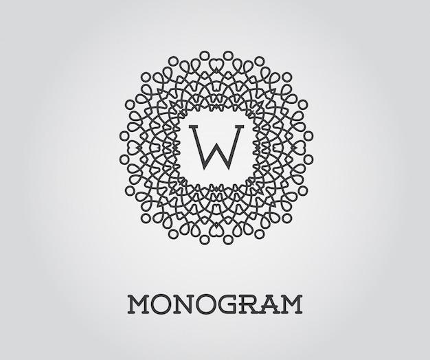 W文字のモノグラムデザインテンプレート