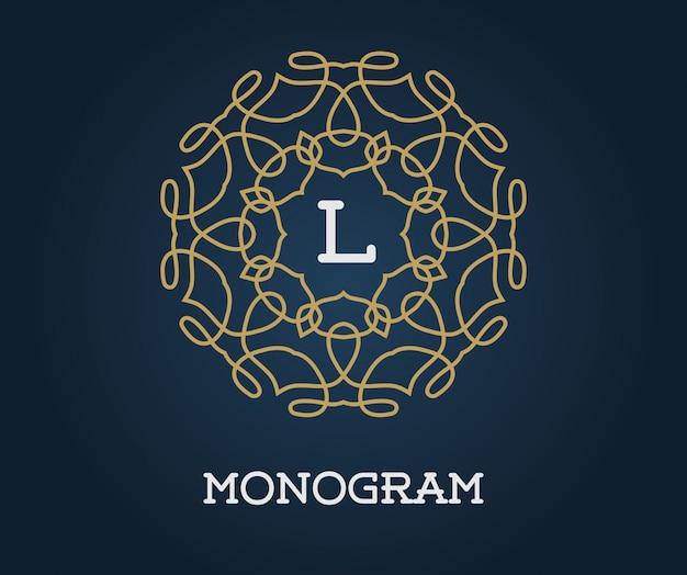 Premium Vector Monogram Design Template With Letter Illustration Premium Elegant Quality Gold On Navy Blue