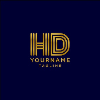 Monogram elegant letter h d initial logotype with gold color