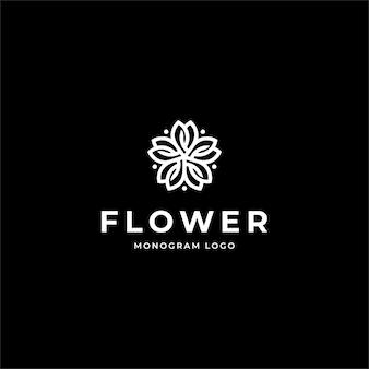 Monogram flower logo design template