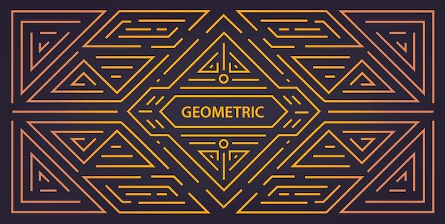 Вензель геометрический арт деко золотой линейный