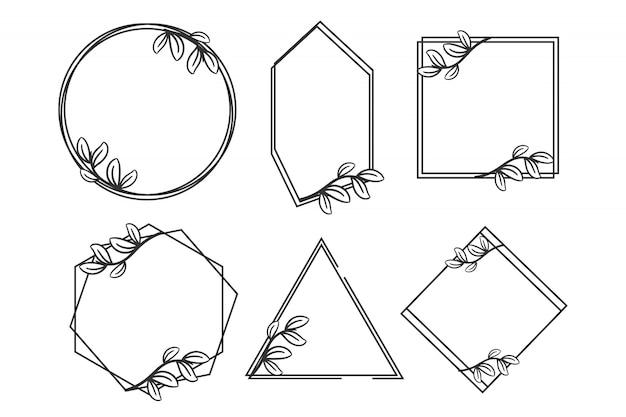 結婚式招待状に最適な花とモノグラムの幾何学的なフレーム Premiumベクター