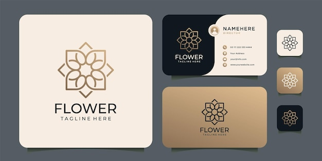 モノグラム・グラデーションの花のロゴ