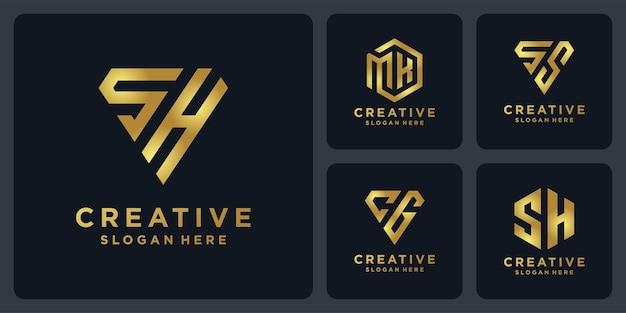 모노그램 이니테일 로고 디자인 황금색.