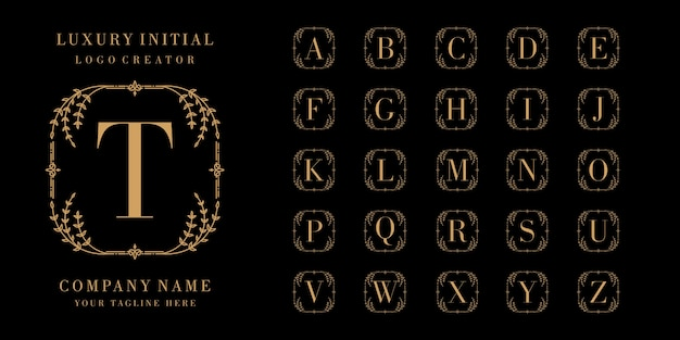 Monogram or initial letter ornamental logo collection
