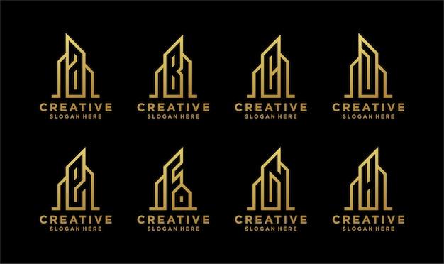 건물 모양이 황금색 인 모노그램 초기 로고. 프리미엄 벡터