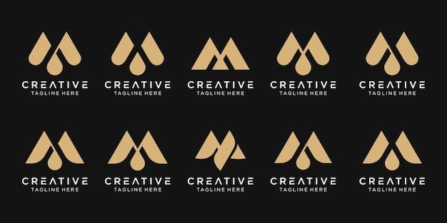 ファッションスポーツ高級のビジネスのためのモノグラムイニシャルmロゴアイコンセットデザイン