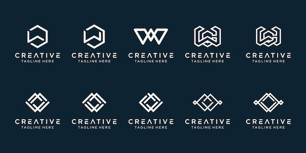 Monogram initial w logo icon set design for business of fashion sport building simple