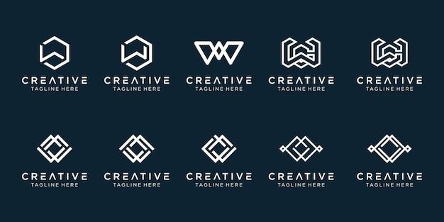 シンプルなファッションスポーツビルのビジネスのためのモノグラム初期wロゴアイコンセットデザイン